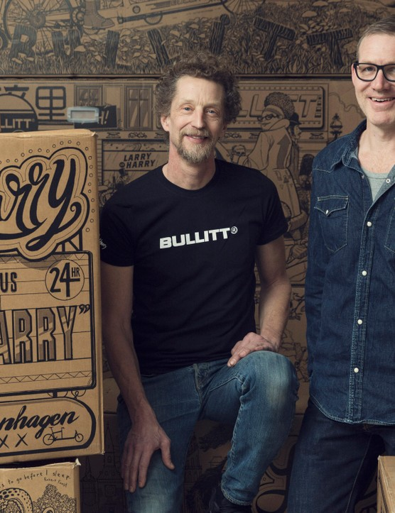 Larry vs Harry's owner Hans Fogh (left) with illustrator Kristian Eskild Jensen (right)