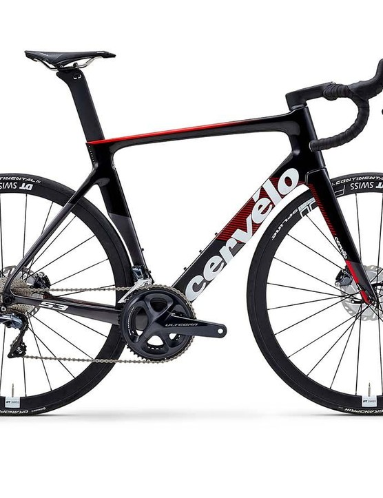 If you don't like the fluoro finish, then a more traditional red-and-black Cervelo option is available