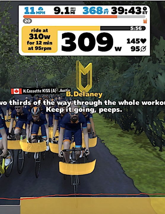 In group workouts we all ride together regardless of power output. Individual efforts are tailored to percentages of your FTP