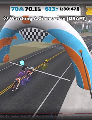 Zimmerman waited until the final meters to come out of the virtual draft and came across the line first