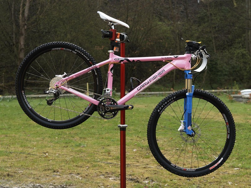 Heather Irmiger's 2009 prototype race bike  rests before the rain hits in Houffalize.