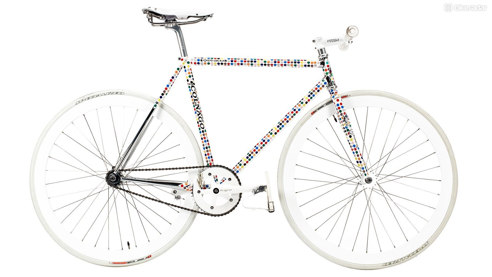 This limited edition Colnago fixed gear features a striking polka dot paint scheme.