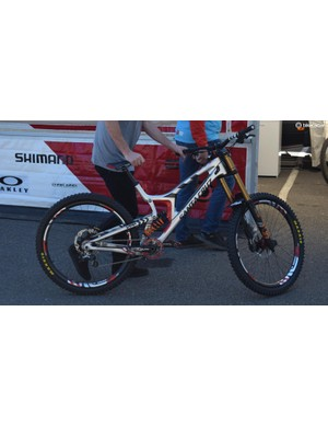 """Greg Minnaar, along with the rest of the Santa Cruz Syndicate, will be racing on the new 29"""" wheeled V10. Despite rumours that other teams would be on big wheels, this is the only 29er we've spotted being ridden so far. Stay tuned for a more thorough look at this bike soon"""