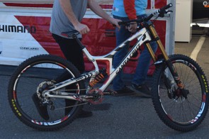 "Greg Minnaar, along with the rest of the Santa Cruz Syndicate, will be racing on the new 29"" wheeled V10. Despite rumours that other teams would be on big wheels, this is the only 29er we've spotted being ridden so far. Stay tuned for a more thorough look at this bike soon"
