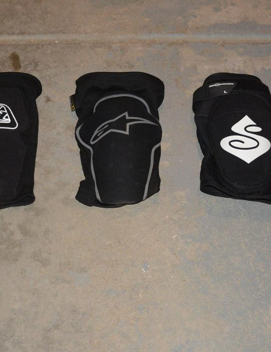 Left to right, lighter to heavier, cross country to enduro knee pads