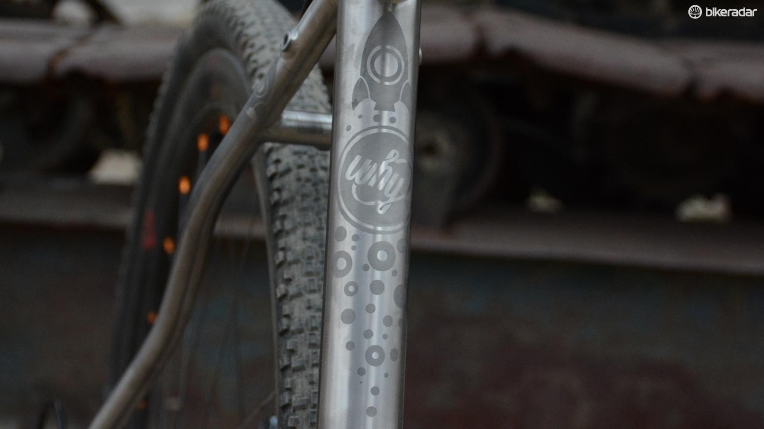 The seat tube displays a little lighthearted artistry