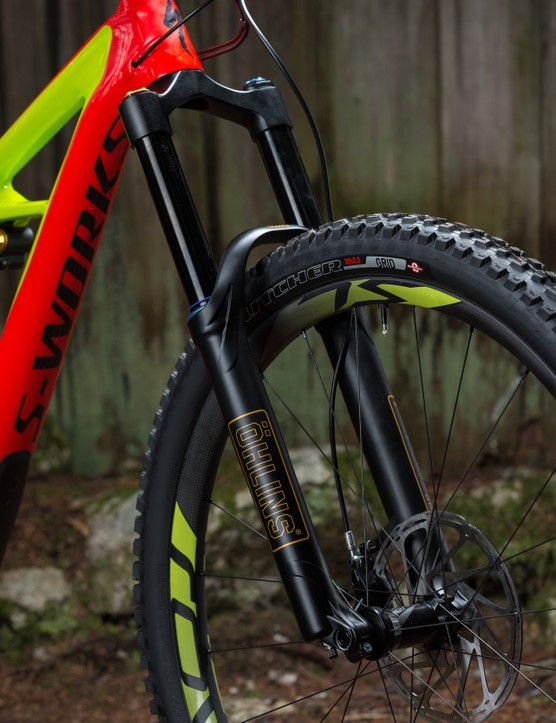 The very capable Ohlins RXF36 fork only comes on the top end Enduro S-Works 29/6Fattie
