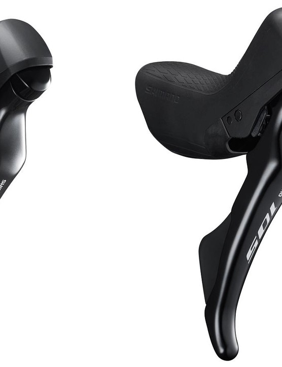 The new 105 Dual-Control levers for mechanical/rim and hydraulic disc brakes