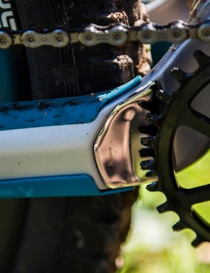 This neat alloy plate protects the chainstay should you derail your chain