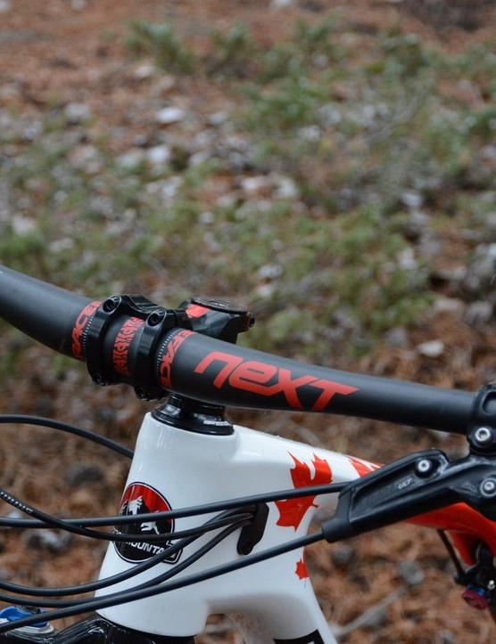 XC isn't skinny anymore, 760mm Race Face Next carbon bars are a healthy width