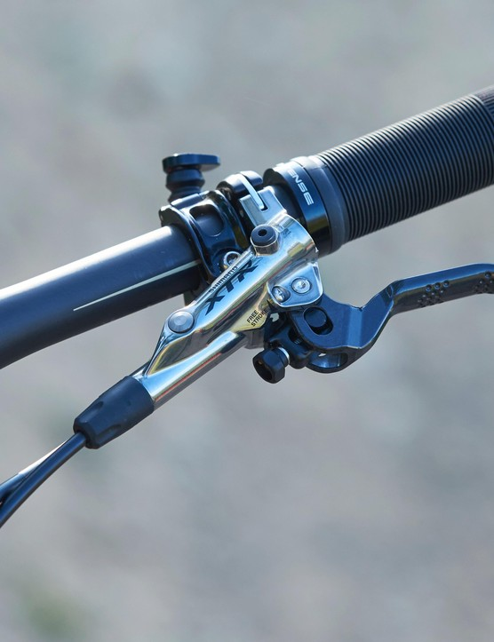 While the transmission is prodominently a SRAM affair, stopping duties fall to Shimano's XTR trail brakes