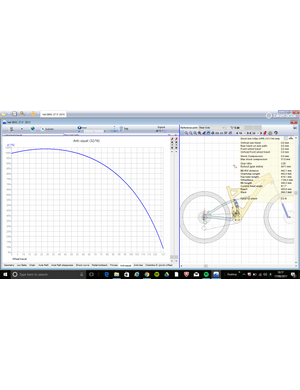 This graph shows how the percentage anti-squat varies with travel on the Yeti SB5, peaking near the sag point