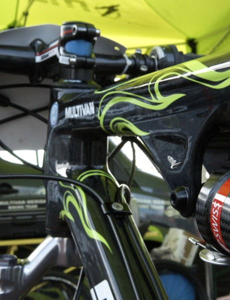 These RockShox remote lockout levers made to work with Multivan-Merida's DT Swiss rear shocks