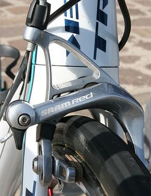 SRAM Red brake callipers offer plenty of stopping power.