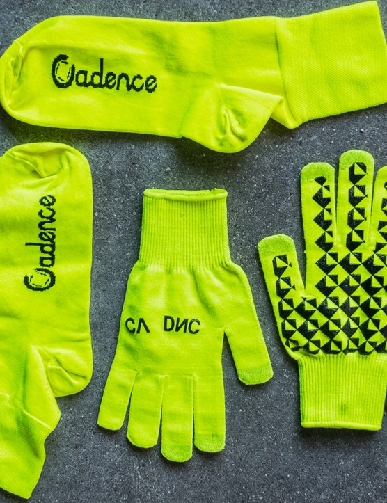 Cadence overshoes and gloves — radioactively bright