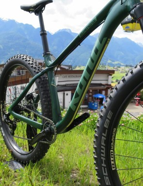 WTB's Scraper rims are common on Plus bikes, and the Nobby Nic offers loads of grip
