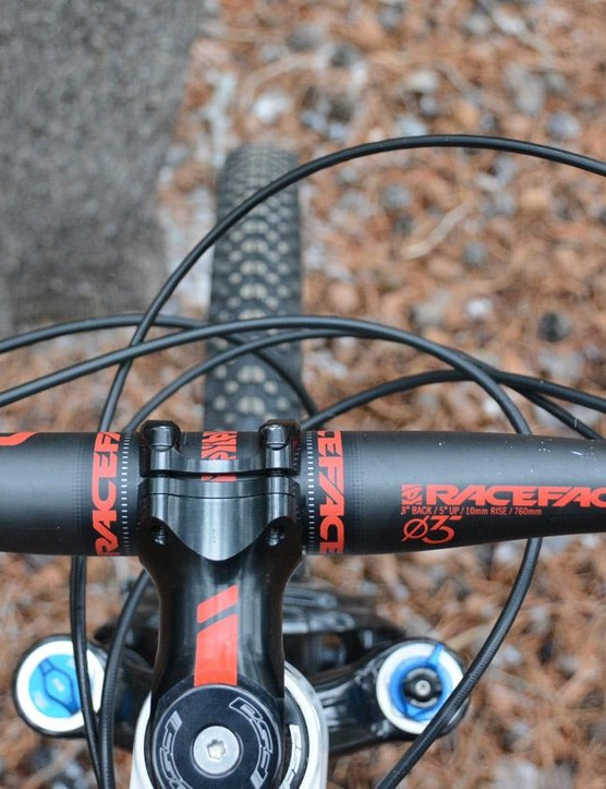 With a dropper post and rear shock lockout, there are five cables squirreling up the front end