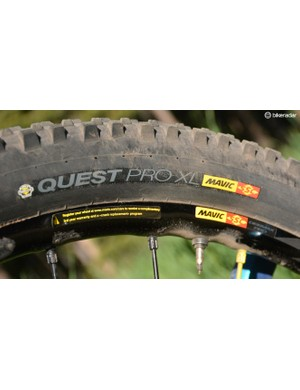 Mavic takes care of the wheel/tire system with Deemax Pro wheels and 27.5in Quest and Claw tires
