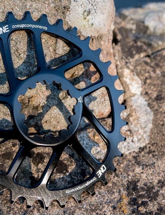 The OneUp Traction oval chainring will help you clean those climbs