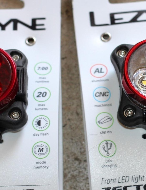 Lezyne's Zectro Drive front and rear LED lights are USB-rechargeable, easy to strap onto a bike (or clip onto a bag or a pocket) and pretty bright (the front goes up to 120 lumens)