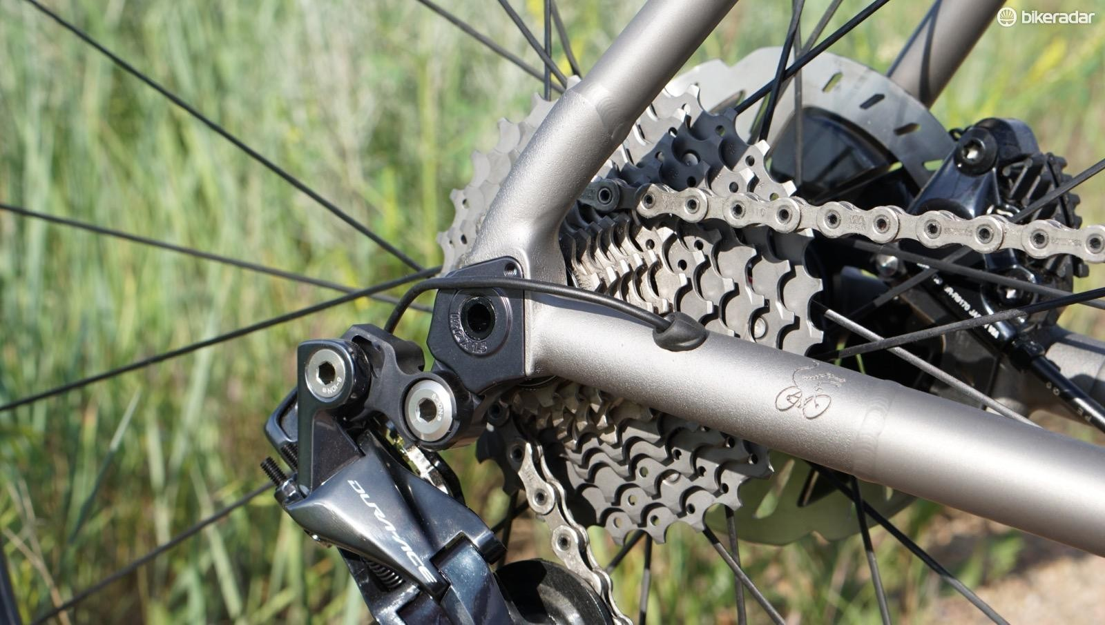 3D printed dropout — not something you'd find on an old-school ti bike