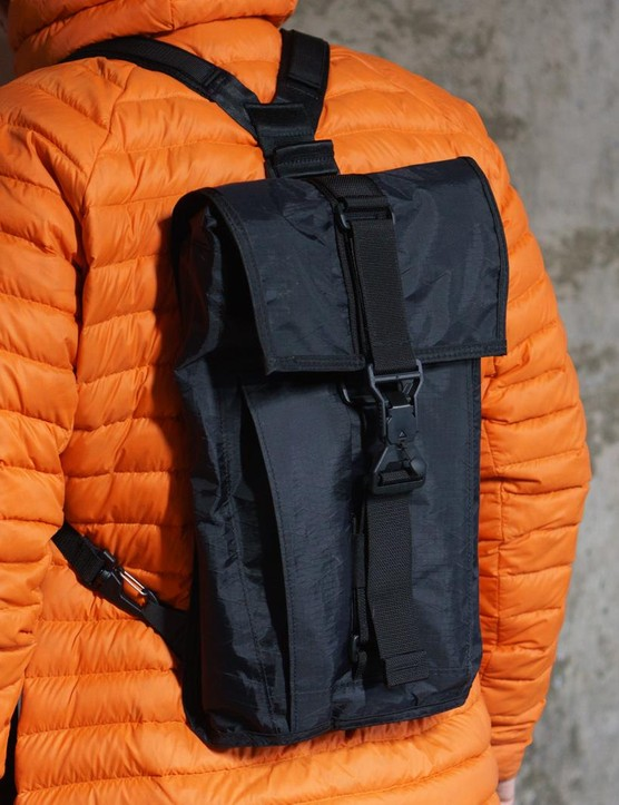 A look at the pack in use with the rucksack straps