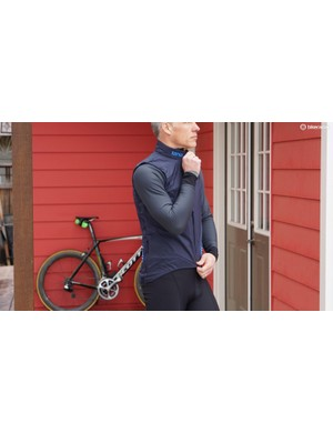 Rapha's Pro Team Insulated Gilet has a windproof front treated with DWR