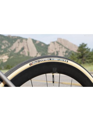 Vittoria Corsa tires are supple and a little noisy in turns
