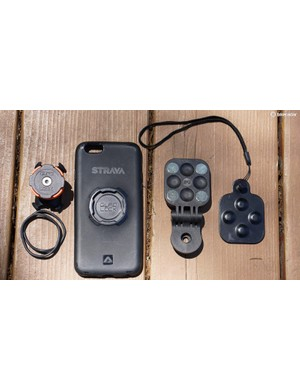 F3's Phone Mount compared to the Quad Lock Bike Mount at left, which requires a phone-specific case
