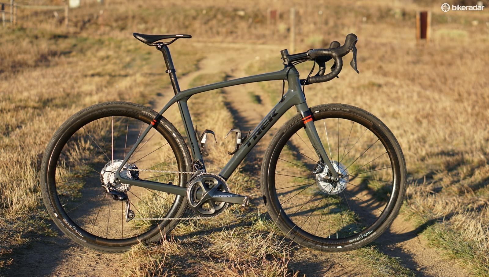 The Trek Domane Gravel is a normal Domane, but with Schwalbe G-One 35mm tires