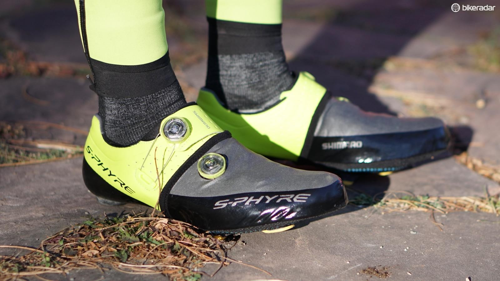 Shimano's S-Phyre toe covers keep the chill off