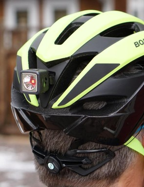 A Bontrager R Flare light snaps cleanly onto the rear