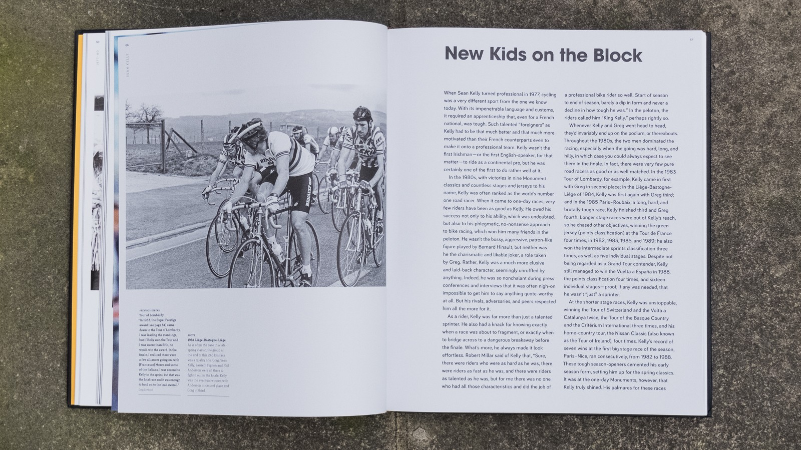 The extensive photos are accompanied by extensive interviews with LeMond and others