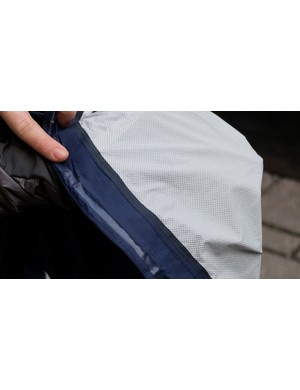 Rapha makes no claims as to the breathability of the Core jacket, but this appears at least visually to be some kind of PTFE membrane