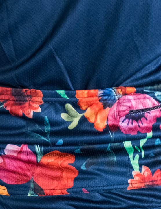 The floral pattern continues on the jersey pockets