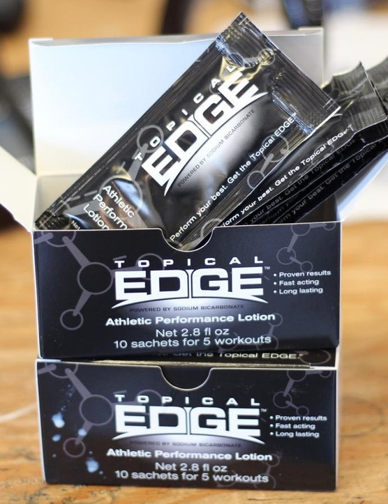 Topical Edge is a sodium bicarbonate lotion. The company claims it reduces lactic acid buildup