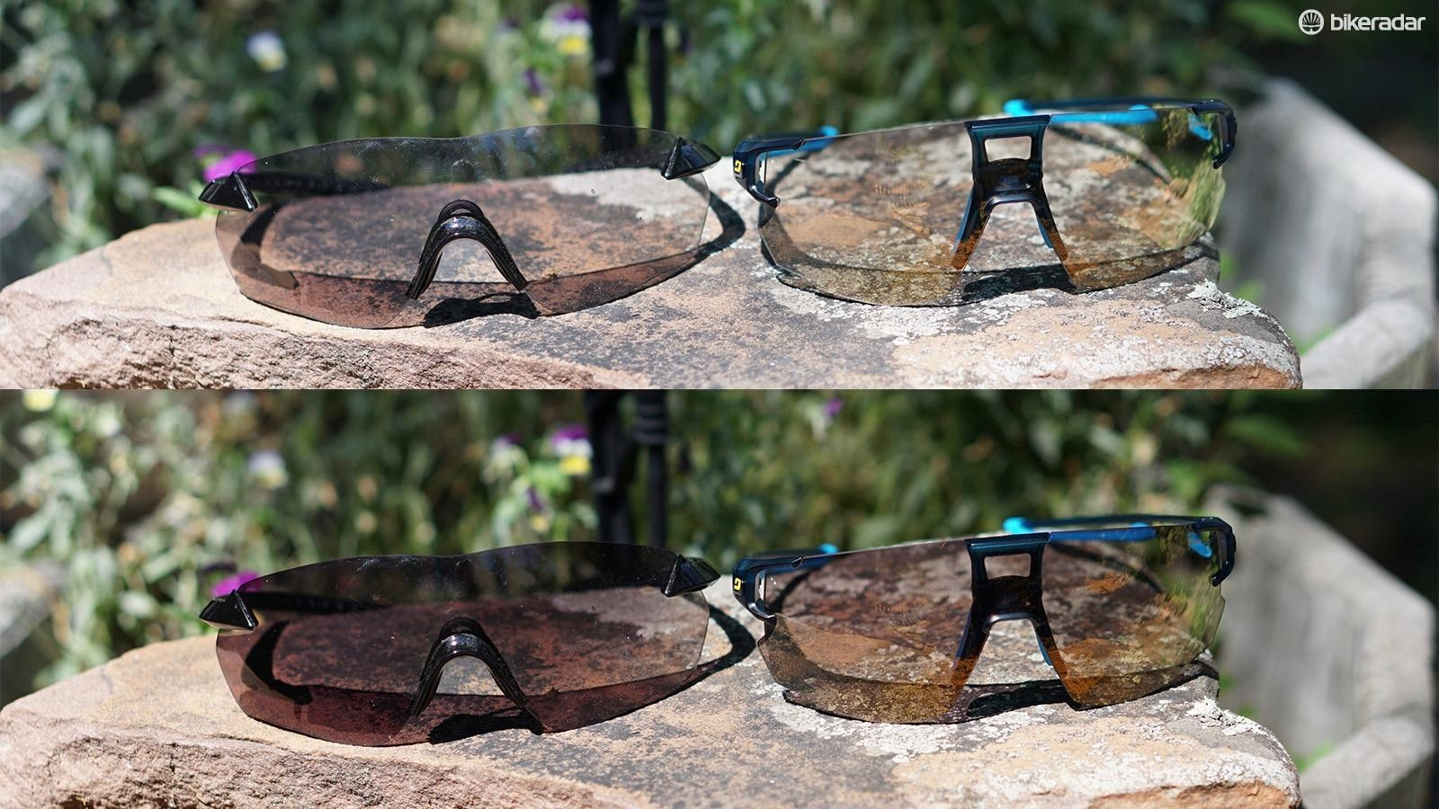 An S-Sphyre and the Julbo at their lightest (above) and darkest, after sitting in the sun