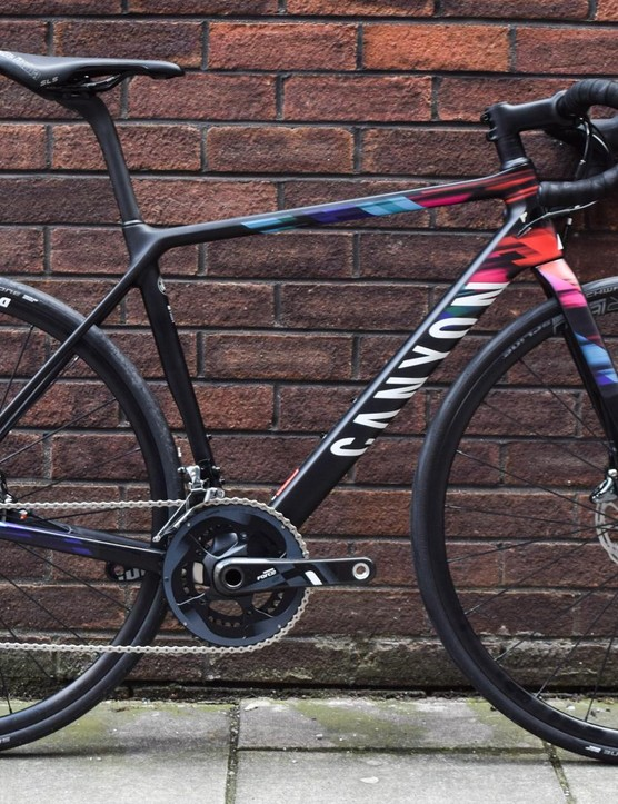 The Canyon Ultimate WMN CF SLX Disc 8.0 Team CSR is a lot of bike with a lot of name