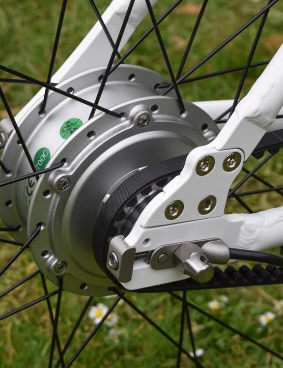 The Gtech uses a hub motor