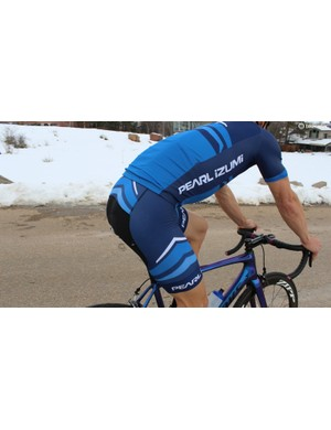 The Elite Pursuit jersey is $120 / £80 and the Elite Pursuit bibs are $150 / £110