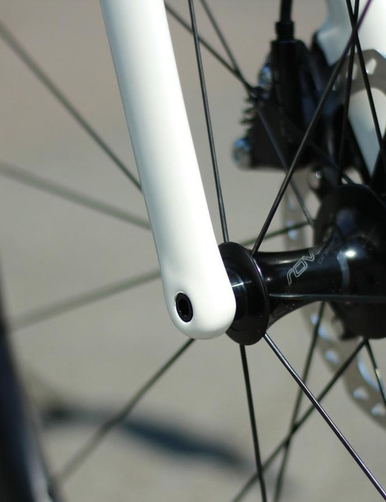 While Specialized's first disc performance road bike, the Tarmac Disc, had quick releases, the new Venge goes for thru-axle