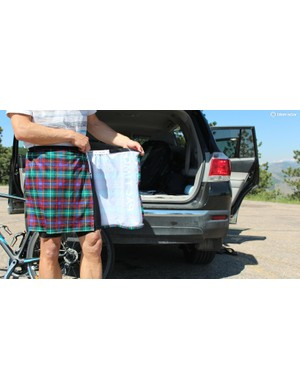 Pactimo's Changing Kilt is a great solution for anyone who changes into or out of riding kit in public
