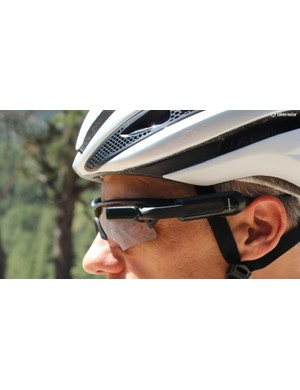 The Garmin Varia Vision affixes to the arm of a pair of sunglasses and dispalys information from a paired Garmin Edge computer