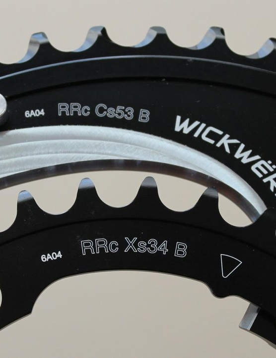 WickWërks claims its ramping design allows for smooth shifting in the huge jump between the 53 and 34t rings