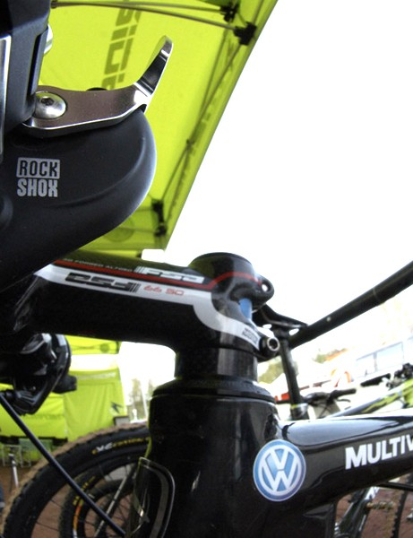The team uses SRAM's twist shifters but the Matchmaker mount still proved handy for the added remote
