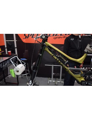 Loic's data acquisition bike is setup as close as possible to his race bike in order to give the best impression of what the Frenchman's suspension is doing