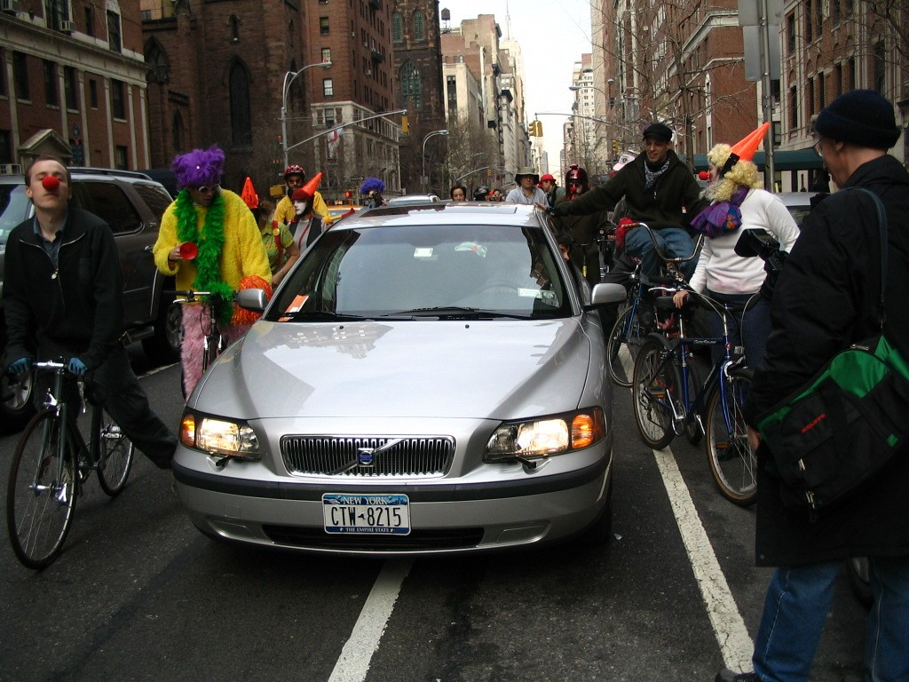 The Time's Up! Bicycle Clowns are rolling once again, standing up for bike lanes in Brooklyn,