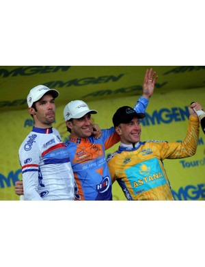 The big guns will be back at the 2009 Tour of California, including David Millar (L), teammate Christina Vande Velde, and defending champ Levi Leipheimer.