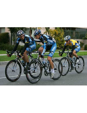 Former Discovery Channel teammate Ivan Basso (L) leads 2007 Tour of CA race leader Leipheimer. Basso now rides for the Italian squad Liquigas.