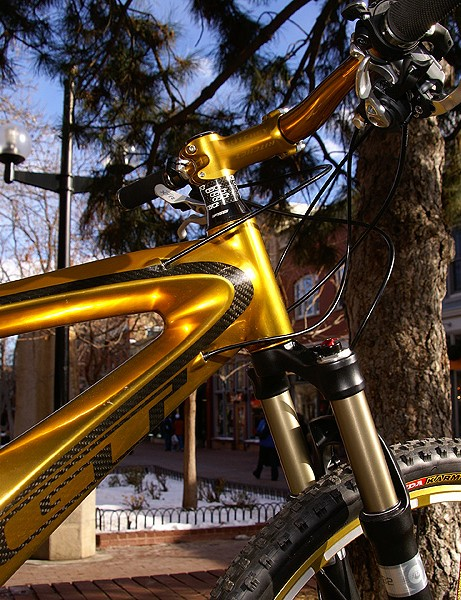 The GT Golden Bike, a resplendent GT Marathon full-susser.